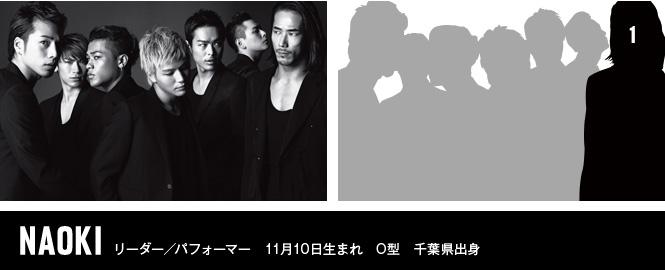 NAOKI リーダー/パフォーマー 11月10日生まれ O型 千葉県出身
