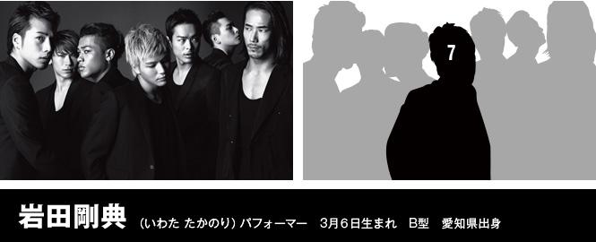 岩田剛典(いわた たかのり)パフォーマー 3月6日生まれ B型 愛知県出身