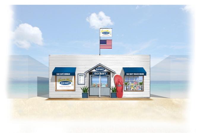 OLD NAVYがEAU cafe Shonanとコラボレーションした海の家を期間限定オープン中