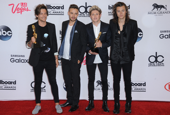 2015 Billboard Music Awards at MGM Grand Garden Arena on May 17, 2015 in Las Vegas, Nevada.  Pictured: Louis Tomlinson, Liam Payne, Niall Horan, Harry Styles, One Direction Ref: SPL1030075  170515   Picture by: Press Line Photos/Splash Splash News and Pictures Los Angeles:	310-821-2666 New York:	212-619-2666 London:	870-934-2666 photodesk@splashnews.com