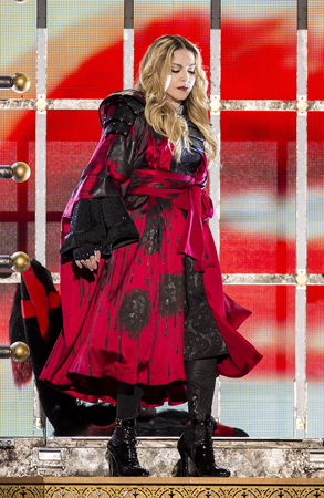 Madonna performs at the Hydro Arena, Glasgow, Scotland