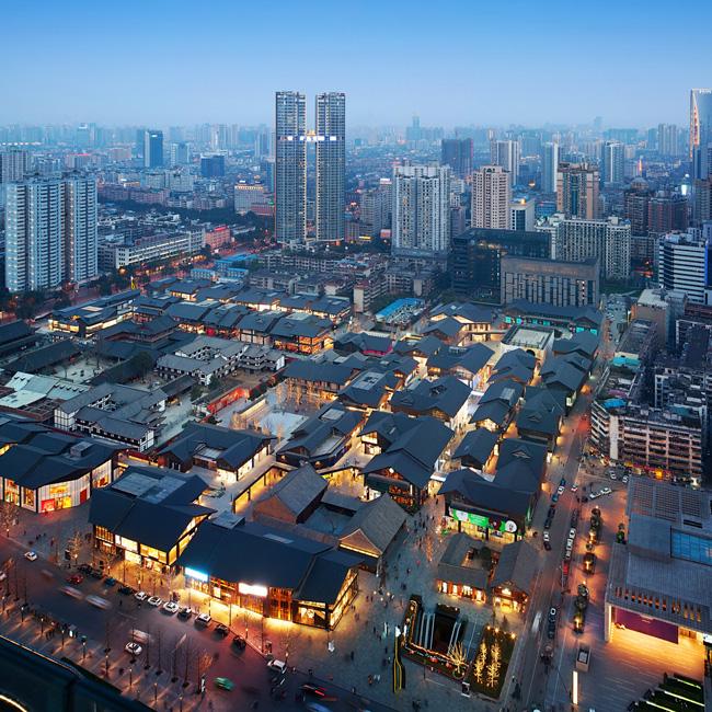 LPAの近作より、中国・成都市のショッピングモール「成都遠洋太古里(Sino-Ocean Taikoo Li Chengd)」の照明計画 ©ライティング プランナーズ アソシエーツ ©The Oval partnership Ltd