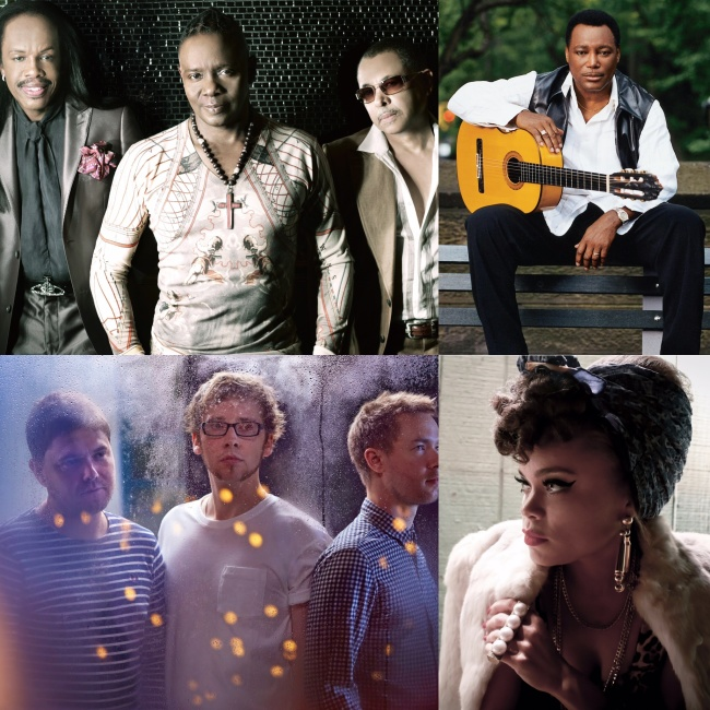 (右上から時計回り)GEORGE BENSON、ANDRA DAY Photo:Myriam Santos、GOGO PENGUIN、EARTH, WIND & FIRE