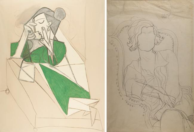 """(左)ピカソの「横たわって読む女」も置かれ、ココが生きた時代の空気を感じられる。 ©Succession Picasso 2016(右)コクトーによるココを描いたデッサン。 ©ADAGP, Paris 2016 All rights reserved""""With the kind authorization of M. Pierre Bergé, président du Comité Jean Cocteau"""""""