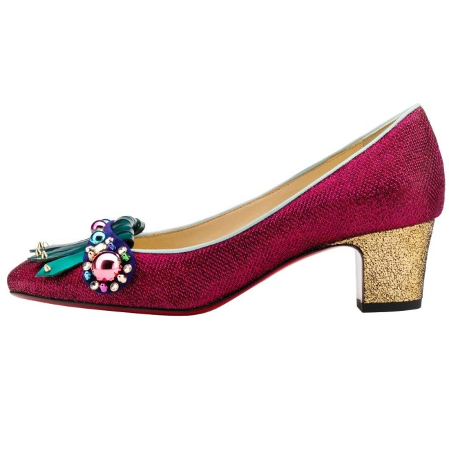 Christian Louboutin Oaxacana 45 Flitter Tisse Glossy Patent VV Cosmo 3D Version Cassis
