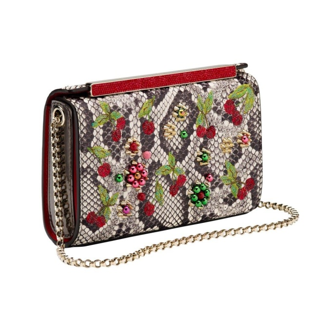 Christian Louboutin Vanite Small Clutch Sakura Watersnake Strass Roccia