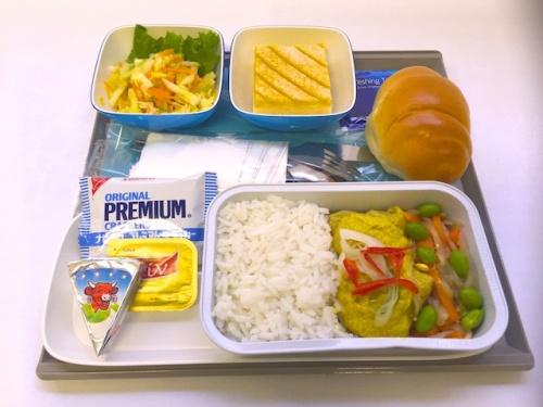 機内食にはインドネシア料理も。