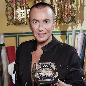 **ALL IMAGES AND INFORMATION EMBARGOED UNTIL 00:01 WEDNESDAY 23RD AUGUST 2017** McDonald's has revealed an unexpected pairing with designer Julien Macdonald as they today revealed a bespoke box for their gourmet beef burger range, The Signature Collection. Julien Macdonald OBE was commissioned to bring his undeniably glamourous aesthetic, to combine fashion and food's finest. Only 1,000 of the baroque box will be available at a series of McDonald's showcase events around the UK. Go to www.mcdonalds.co.uk/signaturecollection to find your nearest local restaurant and more information on how to get a box. **ALL IMAGES AND INFORMATION EMBARGOED UNTIL 00:01 WEDNESDAY 23RD AUGUST 2017**