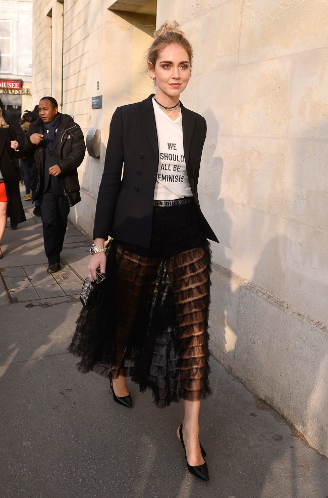 Chiara Ferragni and Olivia Palermo in Paris, France Pictured: Chiara Ferragni Ref: SPL1427536  230117   Picture by: Splash News Splash News and Pictures Los Angeles:	310-821-2666 New York:	212-619-2666 London:	870-934-2666 photodesk@splashnews.com