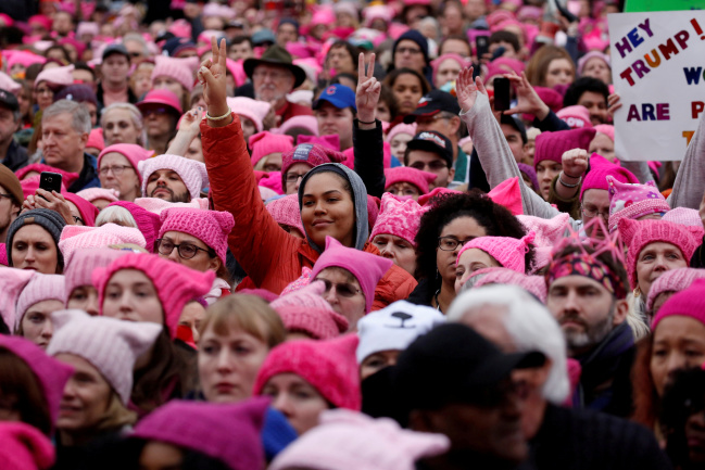 FILE PHOTO: People gather for the Women's March in Washington