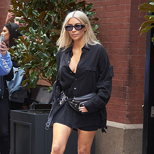 Kim Kardashian is seen wearing a leather fanny pack while out shopping in New York City