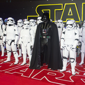 The European premiere of Star Wars - The Force Awakens in Leicester Square, London  Pictured: Darth Vader and Stormtroopers Ref: SPL1197710  161215   Picture by: Splash News  Splash News and Pictures Los Angeles:310-821-2666 New York:212-619-2666 London:870-934-2666 photodesk@splashnews.com