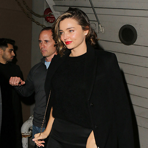 Miranda Kerr and Fiance Evan Spiegel attend a Christmas Dinner Party  at 'Giorgio Baldi' in Santa Monica