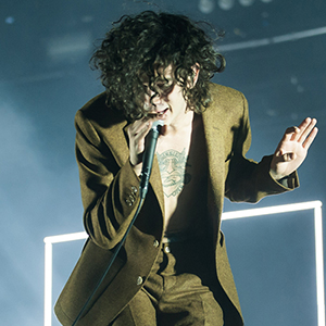 The 1975; band members include Matthew Healy (vocals, guitar), Adam Hann (guitar), Ross MacDonald (bass), and George Daniel (drums)     Reading Festival 2014 in Reading Berkshire UK, Day Three Sunday 24 August 2014.