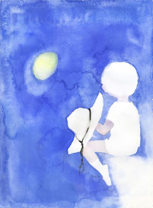 いわさきちひろ 月を見る少年 1970年