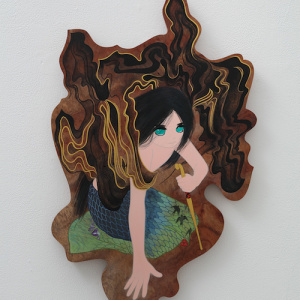 あなたの歌 2018 木(ブビンガ)、アクリル絵具 50 × 32 × 2.2 cm 撮影:宮島径 © ai yamaguchi・ninyu works Courtesy Mizuma Art Gallery