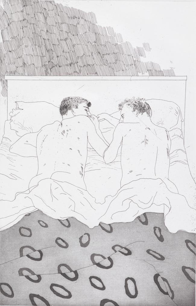 デイヴィッド・ホックニー 《23, 4歳のふたりの男子》C .P. カヴァフィスの14編の詩のための挿絵より 1966年  エッチング、アクアチント/紙  Tate:Purchased1992 ©David Hockney