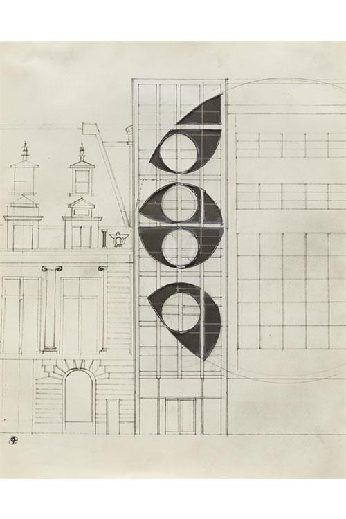 6.《ニューヨーク近代美術館のためのプロポーザルNo.4》1978年 ゴードン・マッタ=クラーク財団&デイヴィッド・ツヴィルナー(ニューヨーク)蔵