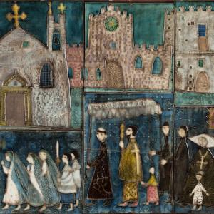 ルート・ブリュック 陶板『聖体祭』 1952-1953年/ アラビア製陶所 コレクション・カッコネン photo:Niclas Warius