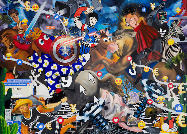 『Screw Hunt』, 195×270cm, oil and acrylic on canvas(新作)