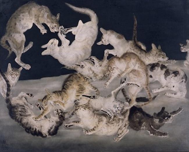 藤田嗣治 《争闘(猫)》 1940年 油彩・カンヴァス 東京国立近代美術館蔵 © Fondation Foujita / ADAGP, Paris & JASPAR, Tokyo, 2017 E2833