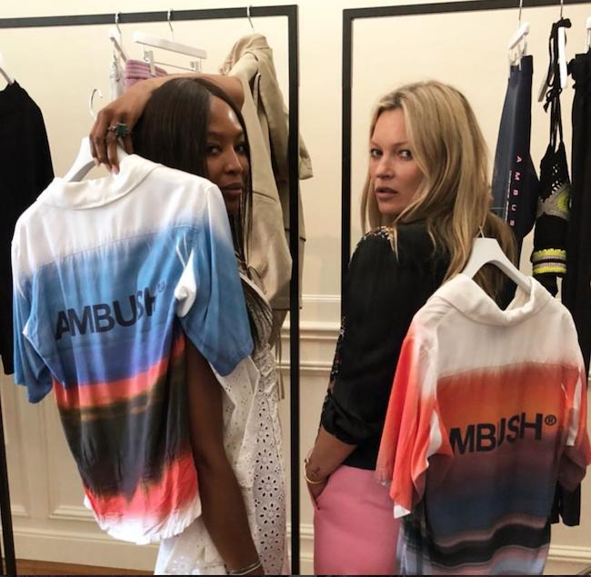 「AMBUSH®」2019春夏コレクション発表後日、ケイト・モスとナオミ・キャンベルがトゥモローショールームを訪れ、SNSで話題に。