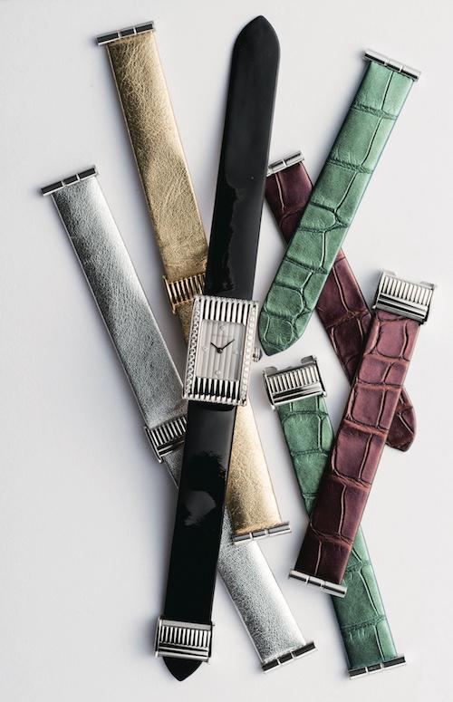 時計(18×29.5mm、SS×Dia、ブラックパテントレザーストラップ) ¥870,000 ストラップ(限定メタリック アリゲーター)各¥39,000(ゴールドカーフ、シルバーカーフ)各¥29,000/すべてBoucheron(ブシュロン カスタマーサービス 03-5537-2203)