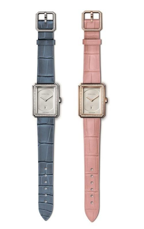 (右)時計(34.6×26.7mm、BG×Dia、アリゲーターストラップ)¥2,550,000(左)(34.6×26.7mm、WG×Dia、アリゲーターストラップ)¥2,800,000/ともにChanel(シャネル カスタマーケア 0120-525-519)