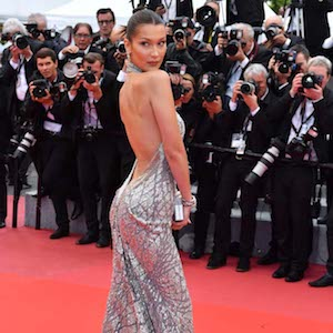 Cannes, Bella Hadid attends the screening of 'Blackkklansman' during the 71st annual Cannes Film Festival  Pictured: Bella Hadid Ref: SPL1697543  150518   Picture by: Gigi Iorio / Splash News  Splash News and Pictures Los Angeles:310-821-2666 New York:212-619-2666 London:870-934-2666 photodesk@splashnews.com