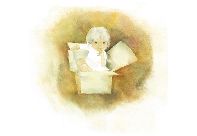 いわさきちひろ 箱に入った少女 『あかちゃんのくるひ』(至光社)より 1969年