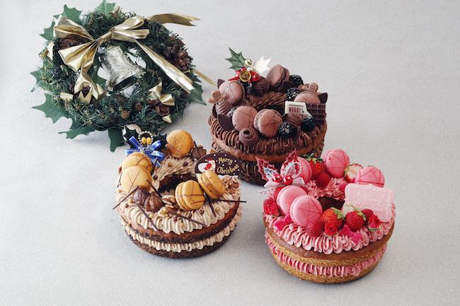 「リースケーキ」(手前から)「ルージュ」、「マロン」、「ショコラ」各¥7,600