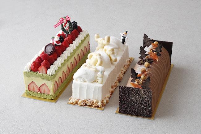 「スクエアケーキ」(左から)「フレジェ」 ¥10,600、「モンターニュ ネージュ」¥6,500、「ブッシュ ド ノエル オレンジノアゼット」¥7,400