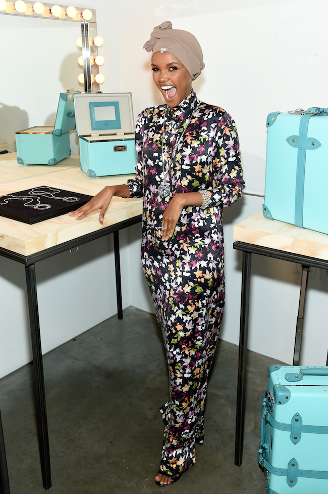 NEW YORK, NY - OCTOBER 09:  Halima Aden attends Tiffany & Co. Celebrates 2018 Tiffany Blue Book Collection, THE FOUR SEASONS OF TIFFANY at Studio 525 on October 9, 2018 in New York City.  (Photo by Dimitrios Kambouris/Getty Images for Tiffany & Co.)