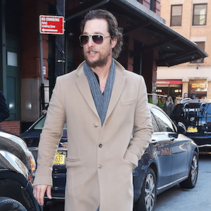 Matthew McConaughey shows off his beard as he steps out in a trench coat and sneakers while out in Tribeca, NYC  Pictured: Matthew McConaughey  Ref: SPL1413040  201216   Picture by:  Splash News  Splash News and Pictures Los Angeles:	310-821-2666 New York:	212-619-2666 London:	870-934-2666 photodesk@splashnews.com