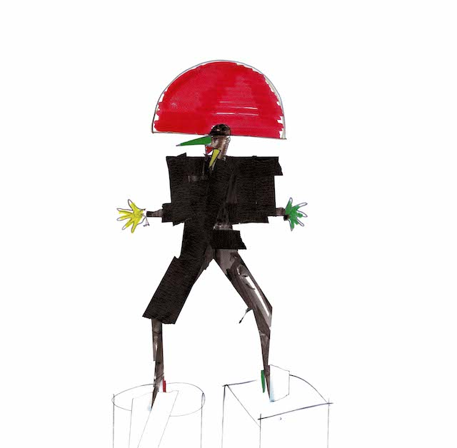 『Libertango』Costume design, felt-tip and sticky tape on paper, New York, 1981 © JEAN-PAUL GOUDE