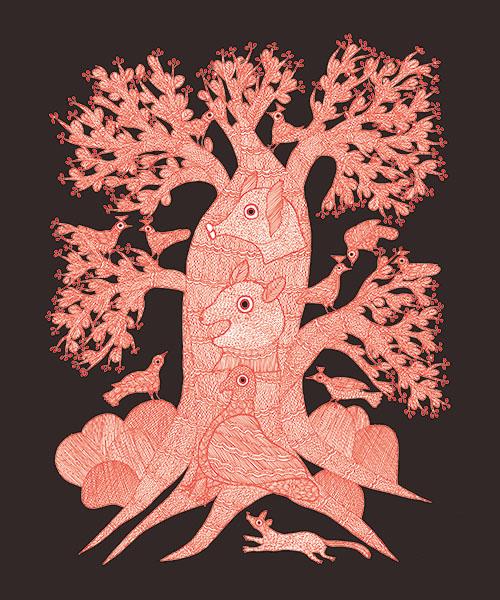 『夜の木』(原題『The Night Life of Trees』)より。酒の原料になるマフアの木を描いた「飲みすぎにご用心」。