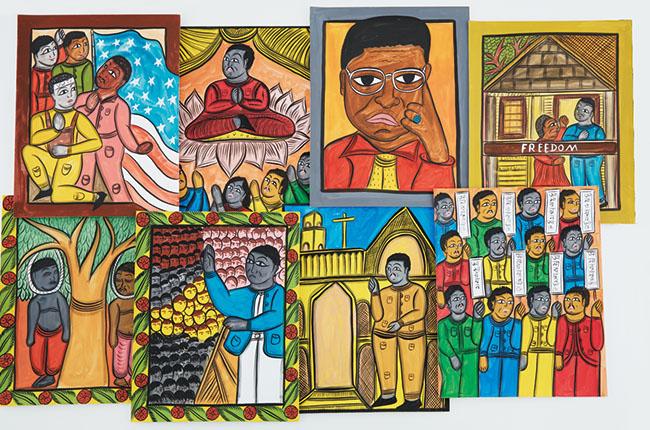 アメリカ公民権運動を率いたキング牧師の生涯を伝統的な絵巻物の手法で描いた『I See the Promised Land』(初版 2010年)の原画たち。