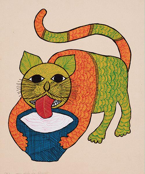インド各地の民俗画家による画集絵本『猫が好き』(原題『I Like Cats』/初版 2009年)より。