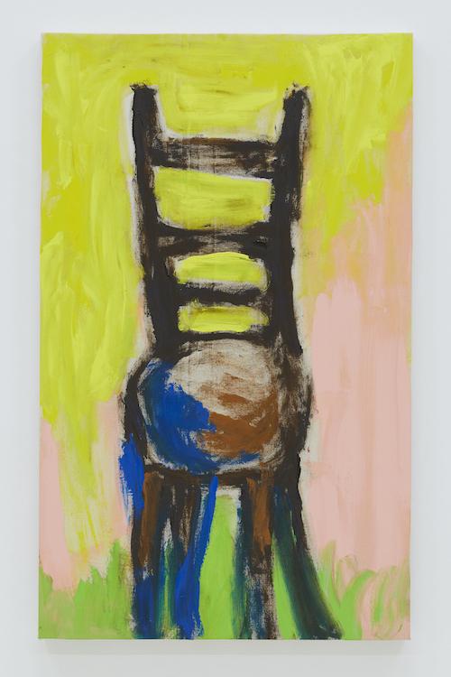とある未亡人の椅子 『ちょっと座るのに便利。靴を履くときなど』 2018 acrylic on canvas 96.8 x 59.3 cm ©Ellie Omiya, courtesy of Tomio Koyama Gallery