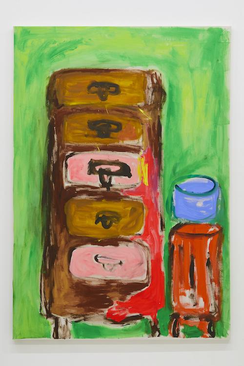 とある未亡人のチェスト 『チェストとトランクと帽子入れ』169.3 x 117.4 cm 2018 acrylic on canvas ©Ellie Omiya, courtesy of Tomio Koyama Gallery