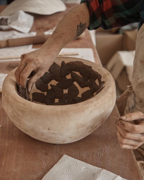 Making Pressed Terracotta Lampshades at Granby Workshop Image: Granby Workshop / Assemble