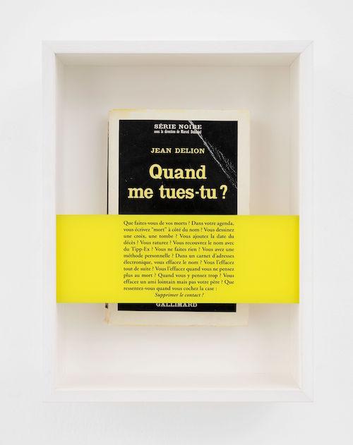 Comment vivent les morts, 2017 Book, silkscreen glass, framing 28.5 x 21.5 x 7.5 cm / 11 1/4 x 8 7/16 x 2 15/16 in ©Sophie Calle / ADAGP, Paris & JASPAR, Tokyo, 2019