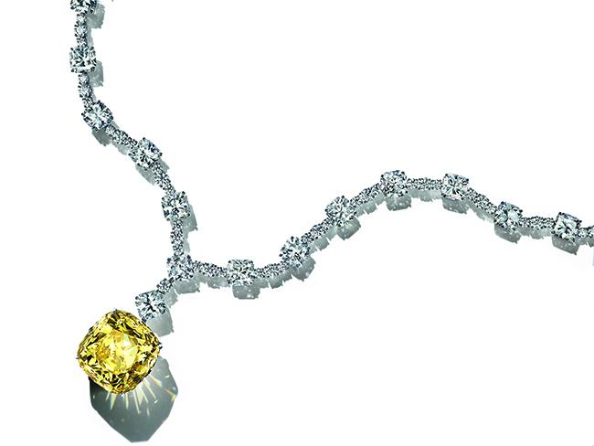 「ティファニー ダイヤモンド」ネックレス (プラチナ、ファンシーイエロー ダイヤモンド、ホワイトダイヤモンド)