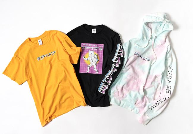 限定アイテム/左より「Nermformer」Tシャツ ¥5,000、長袖Tシャツ ¥6,800、フーディー ¥11,000<br />