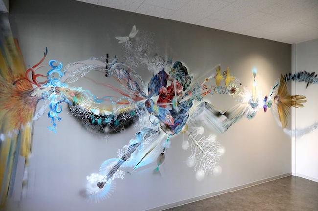 """東京大学本郷キャンパスの壁画制作より """"トランスフォーメーション-ゲノム(Transformation- Genome)"""" photo by KABO"""