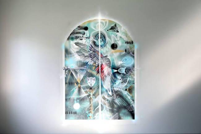 """東京大学本郷キャンパスの壁画制作より """"トランスフォーメーション-脳扉(Transformation- Brain door)"""" photo by KABO"""