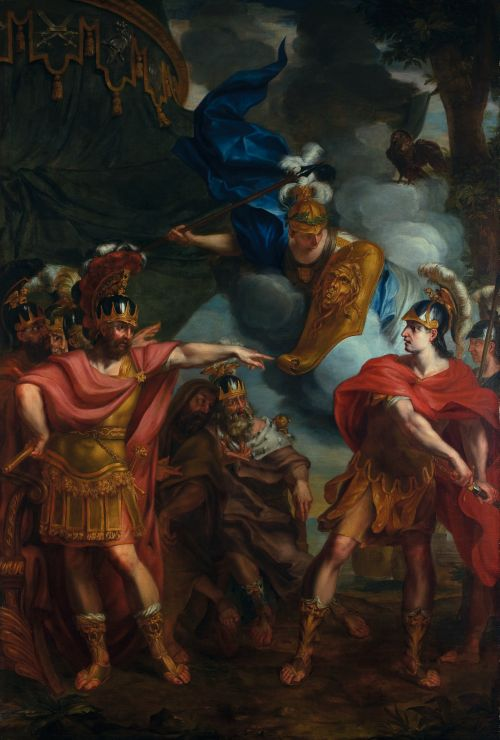 「アキレスとアガメムノンの口論」エラルート・デ・ライレッセ (1640-1711) ベルギー 油絵・キャンバス  H3000 x W2140mm