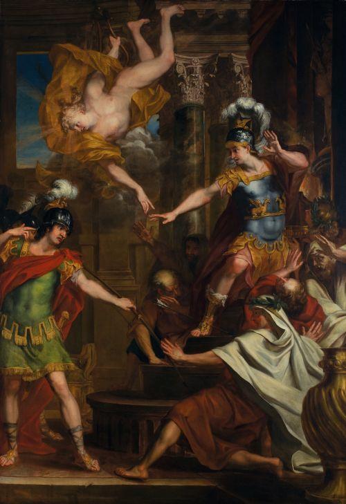 「パリスとアポロがアキレスの踵に矢を向け命を狙う」エラルート・デ・ライレッセ (1640-1711) ベルギー 油絵・キャンバス H3000 x W2140mm