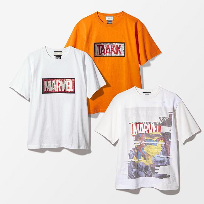 ターク スパンコールロゴTシャツ 各¥16,000、コラージュTシャツ ¥24,000