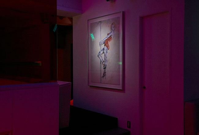 スペシャルコラボレーターとして、アーティストの空山基氏によるセクシーロボットのオリジナル絵画が飾られる。